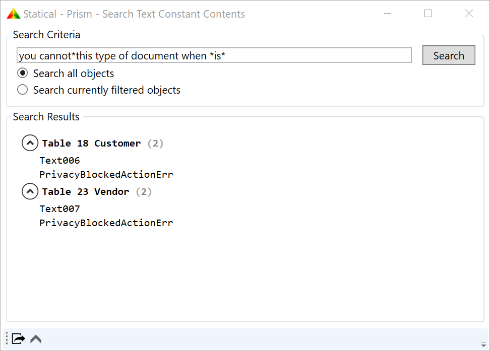 Search Text Constants